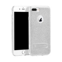 Hoco - Simple series glitteres TPU szilikon iPhone 7 Plus/iPhone 8 Plus védőtok mágneses kitámasztóval - ezüst