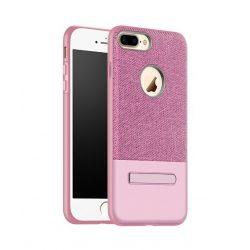 Hoco - Simple series szövet boritású iPhone 7/iPhone 8 védőtok mágneses kitámasztóval - rozéarany