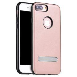 Hoco - Simple series szövet boritású iPhone 7 Plus/iPhone 8 Plus védőtok mágneses kitámasztóval - rozéarany