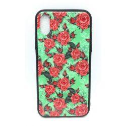 PM - Apple iPhone X/XS Üveges Mintás Tok - Zöld Rózsa