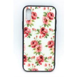 PM - Apple iPhone X/XS Üveges Mintás Tok - Fehér Rózsa