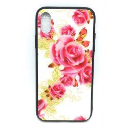 PM - Apple iPhone X/XS Üveges Mintás Tok - Nagy Rózsa