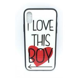 PM - Apple iPhone X/XS Üveges Mintás Tok - Love this Boy