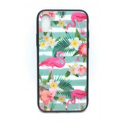 PM - Apple iPhone X/XS Üveges Mintás Tok - Virágos Flamingó